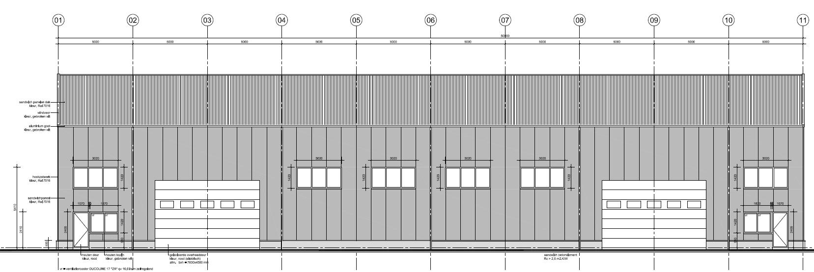 Vooraanzicht loods 2 overheaddeuren bedrijventerrein Schoonoord